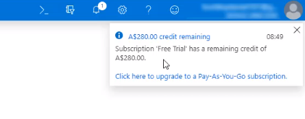 Azure notification regarding credit