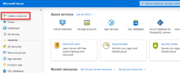Azure portal with Create a resource selected