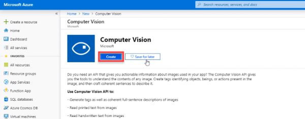 Azure resource Computer Vision page