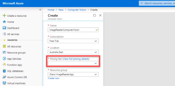 Azure resource creation window for computer vision resource
