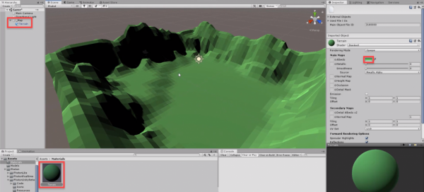Unity scene with green terrain mesh added