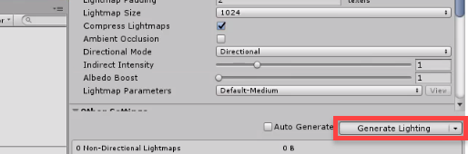 Unity Inspector with Generate Lighting selected