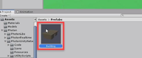 Unity building prefab in assets