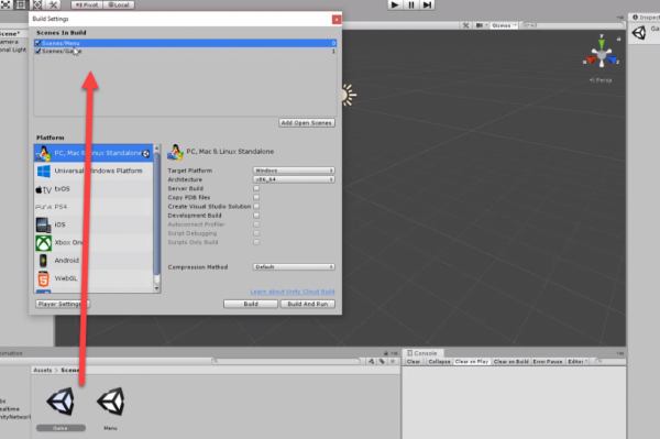 Unity Build Settings with Game scene added