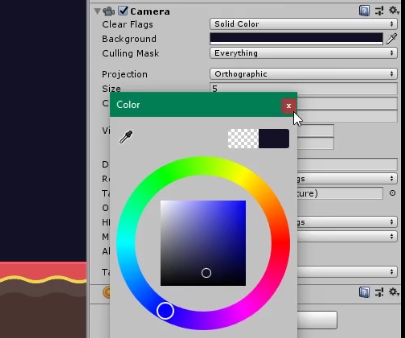 Unity Inspector with camera color picker