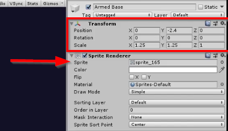 Unity Inspector with Transform highlighted