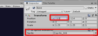Unity Inspector with Transform and Sprite Renderer