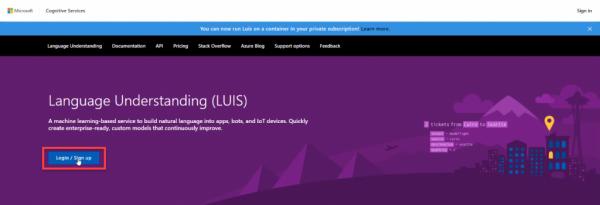 Microsoft Azure Language Understanding homepage