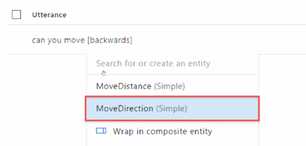 Utterance option in Azure with MoveDirection selected