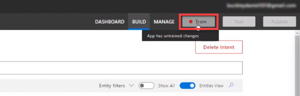 Microsoft Azure LUIS Train button