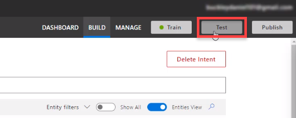 Microsoft Azure LUIS Test button