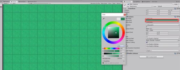 Unity Inspector with camera background color picker