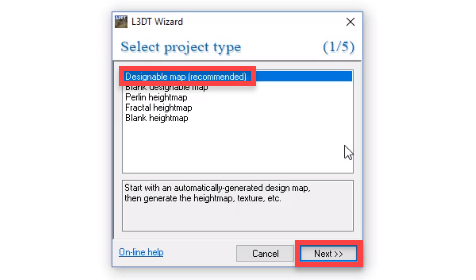 L3DT Wizard with designable map selected