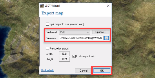 L3DT Export map window for texture
