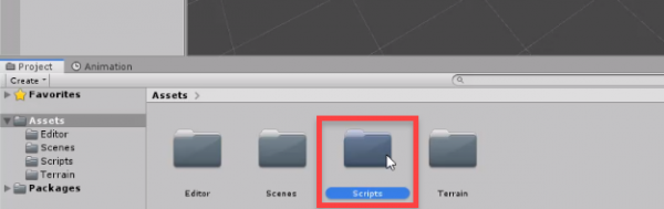 Scripts folder added to Unity Assets