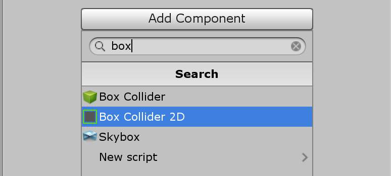 Unity Add Component with Box Collider 2D selected