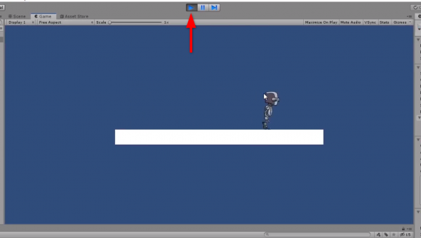 Unity game scene with play button activated