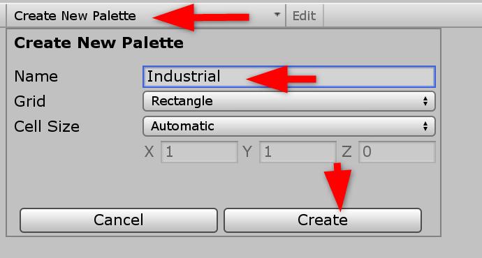 Unity Create New Palette window