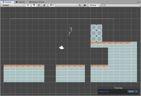 Unity tilemap with block obstacles added