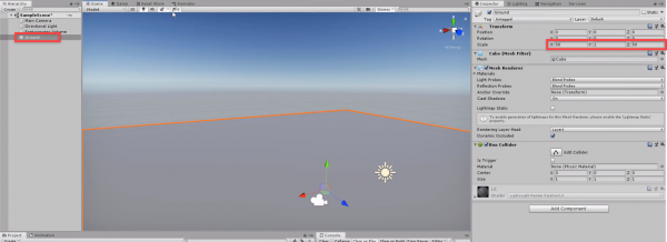 Unity scene with ground added