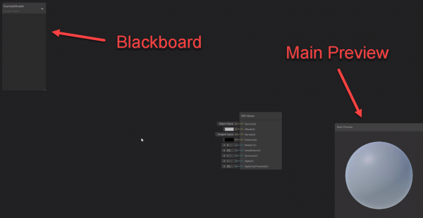 Unity Shader Graph blackboard and preview