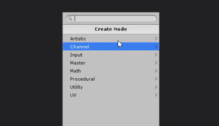 Unity Shader Graph Create Node window