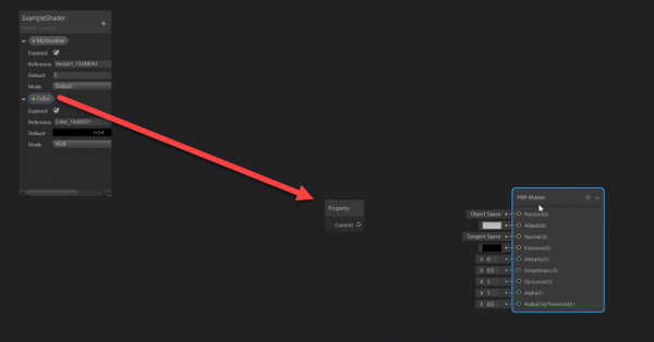 Unity shader graph with new property node