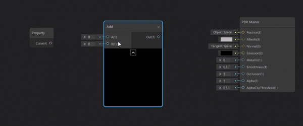Unity shader graph with Add window