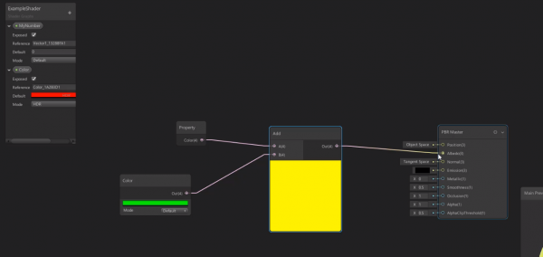 Unity shader graph with yellow color for albedo