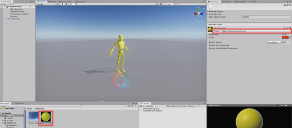 Unity scene with shader graph material applied