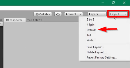 Unity Layout button with Default selected