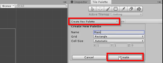 Unity Create New Palette window selected