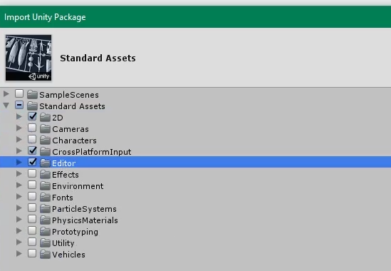 Standard Assets import options in Unity