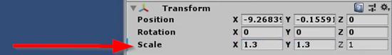Unity Inspector transform component