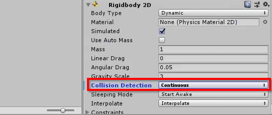 Unity Rigidbody 2D component with collision detection changed
