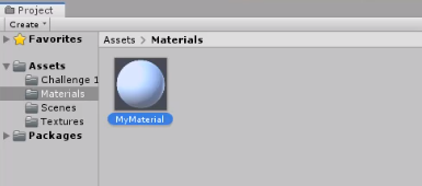 New material in Unity Materials folder