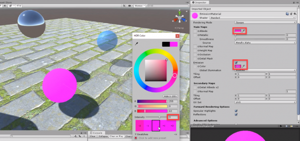 Unity inspector with pink flat material created
