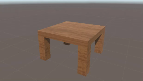 Table with wood texture material created in Unity