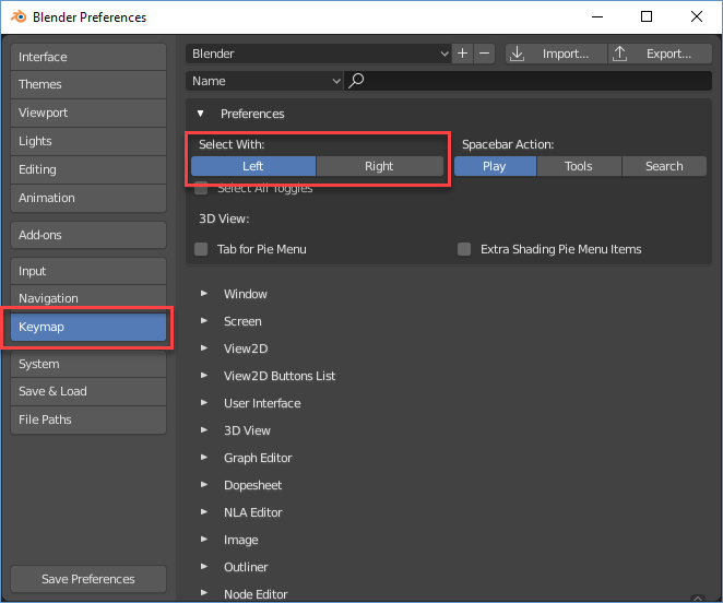 Blender Preferences Keymap window