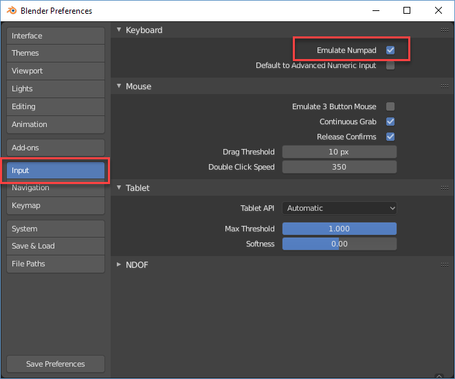 Blender Preferences Input window