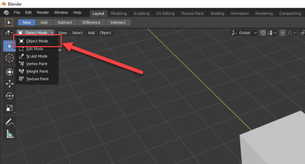 Blender mode menu with Object Mode selected