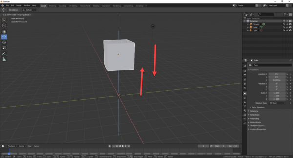 Cube in Blender moving up and down