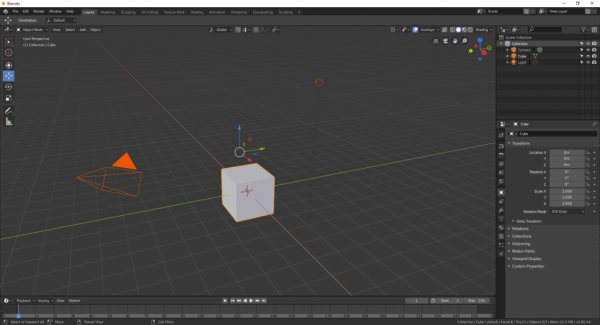 Blender cube with transform widget above it