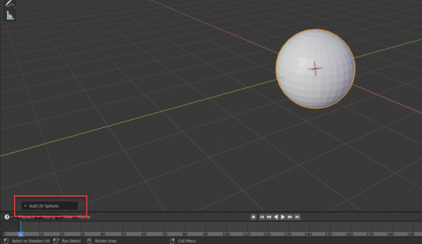 Blender with Add UV Sphere button highlighted in bottom left