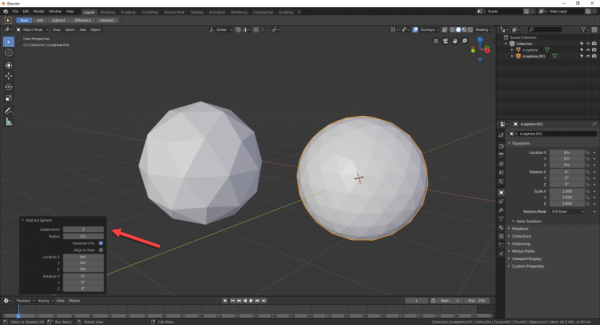 Blender with different UV spheres added