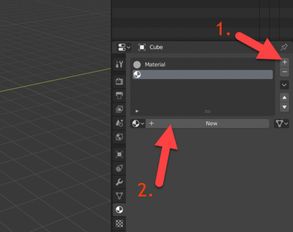 Blender Material tab with new button select