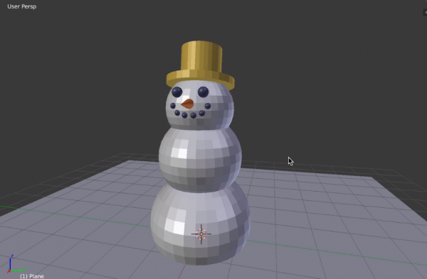Blender with snowman model created