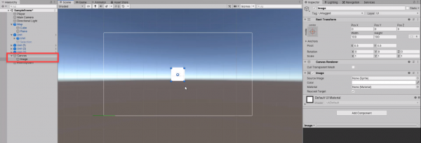 Unity UI Canvas with raw image added
