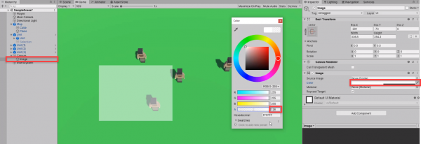 Unity Inspector with Image color picker open