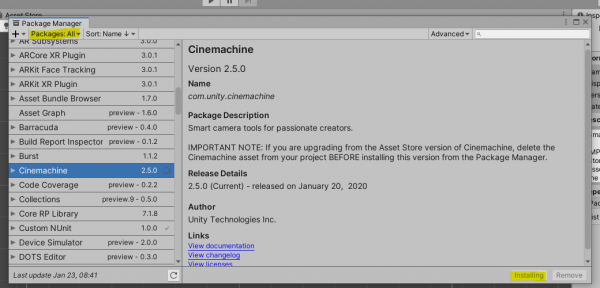 Cinemachine package in Unity package manager